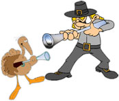 thanksgiving standoff between turkey and pilgrim