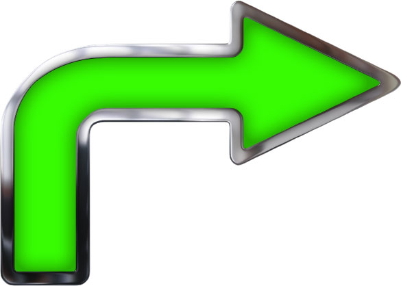 Right turn arrow with green glass and metal trim.