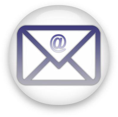 at envelope on white