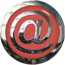 at for email metal on red glass