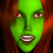 girl green face red eyes