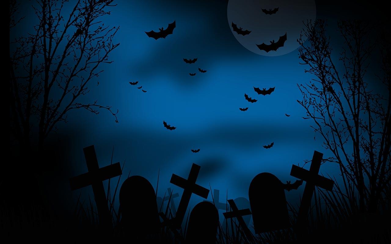 Dark graveyard scene o...