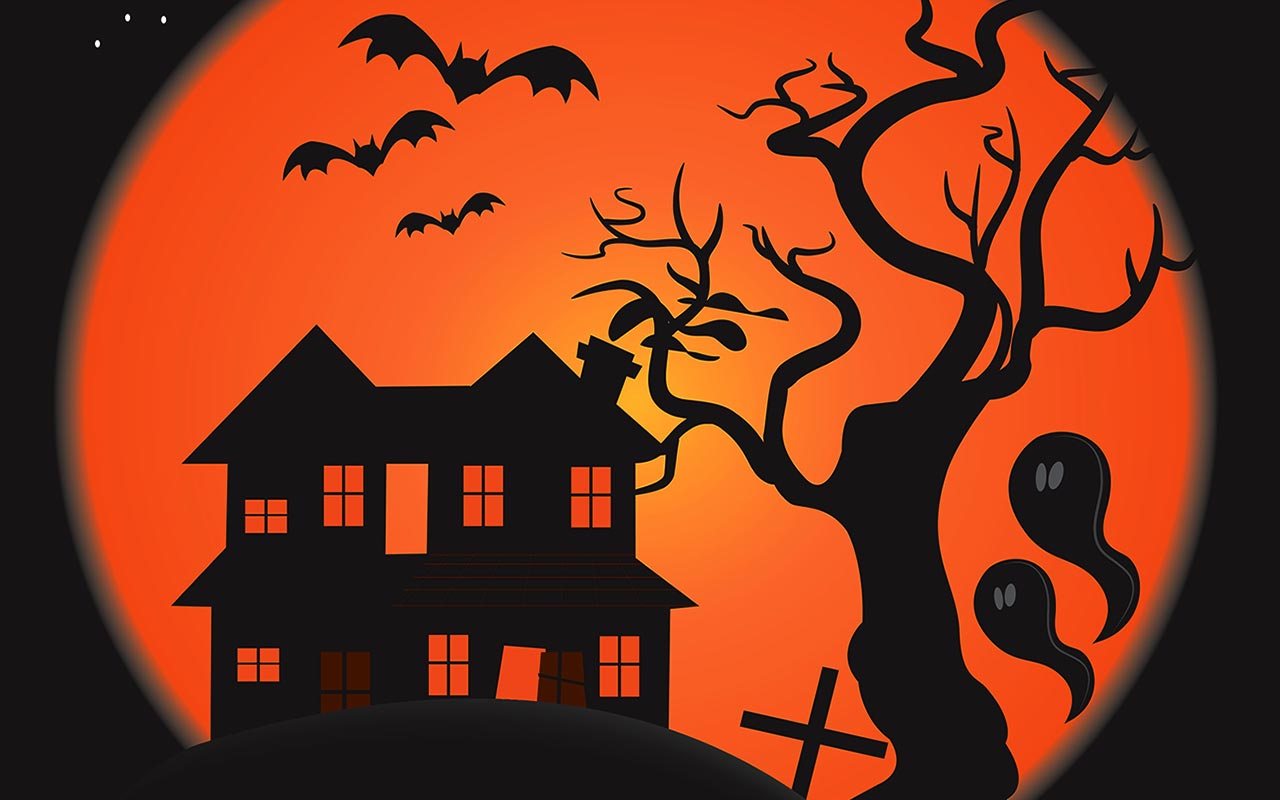 Scary house with ghosts and flying bats.