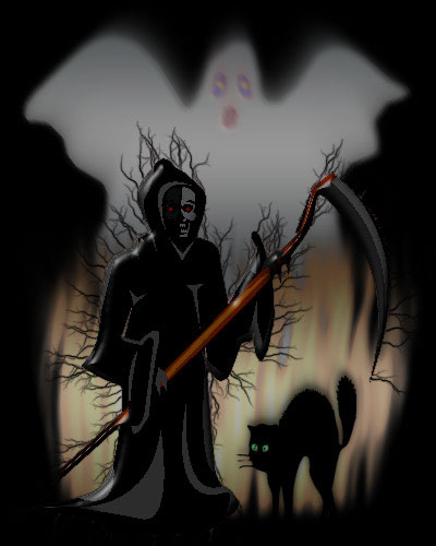 grim reaper with ghost and black cat
