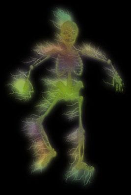 colorful skeleton walking