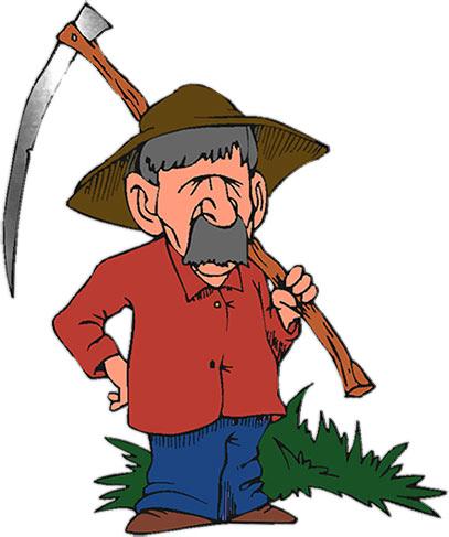 farmer and his scythe