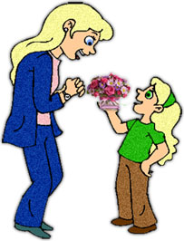 girl giving flowers to mom