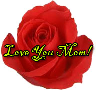 love you mom with red rose