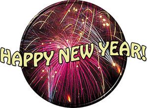 New Year round button fireworks