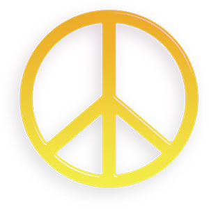 peace sign yellow