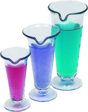 three beakers
