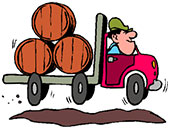 truck carrying barrels