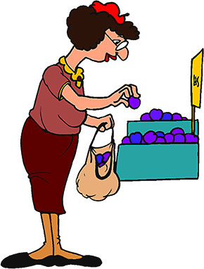 woman buying fruit
