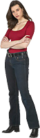 woman in jeans and red top